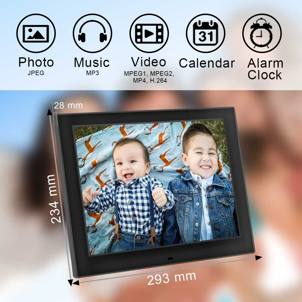 Amazon.com: Digital Picture Frames, Jimwey 12 inch HD LCD Display Electronic Picture Frame, MP3 Photo Video Player with Calendar Clock Function, ...