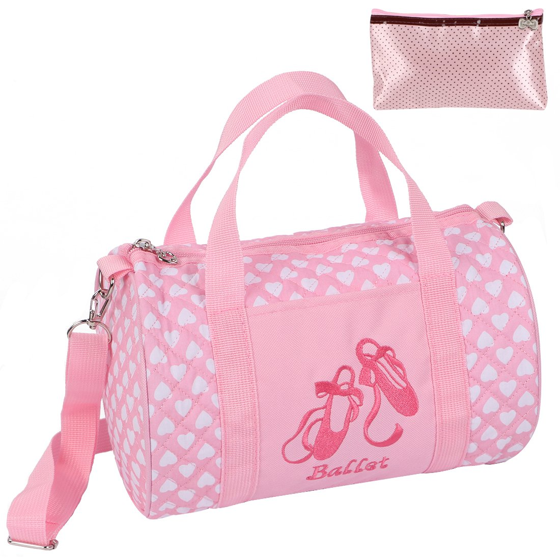kilofly Girls Ballerina Ballet Tutu Duffel Crossbody Dance Bag + Zippered Pouch AWP429
