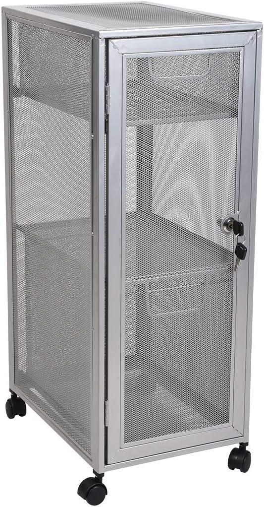 Mesh 3 Layer Storage Cart Lock Organizer Storage Rolling Cabinet 2 Drawer School Office Beauty Holder