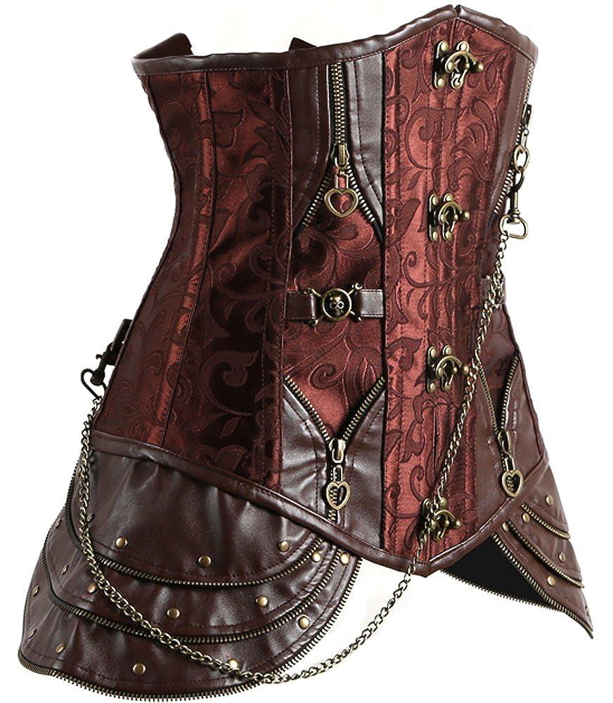 Imilan Retro Steampunk Faux Leather Underbust Corset Bustier Top