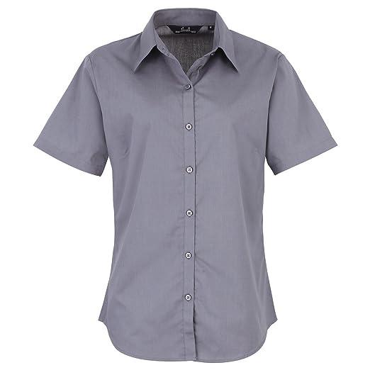 Premier Workwear Ladies Short Sleeve Poplin Blouse, Blusa para Mujer: Amazon.es: Ropa y accesorios