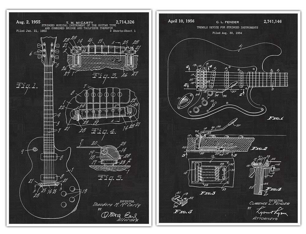 Gibson Les Paul Guitar Poster, Fender Guitar, Patent Print Poster - Set of 2 Posters