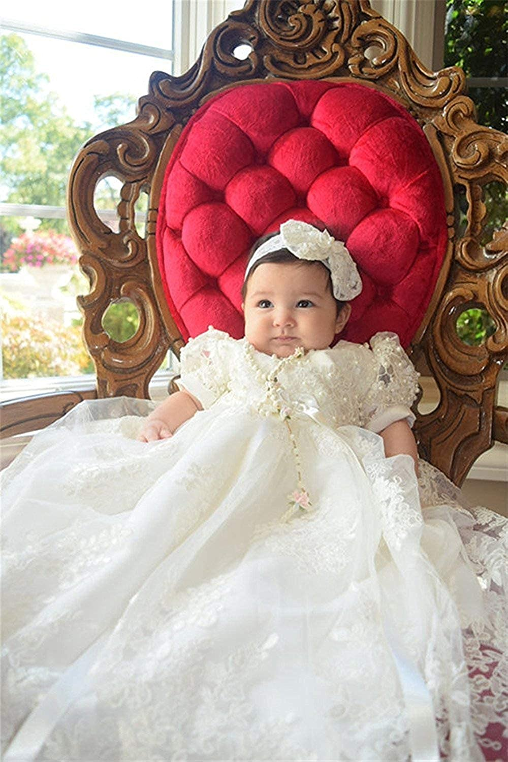 Vintage White Ivory Baby Girls Short Sleeve Christening Gown Lace Baptism Dress