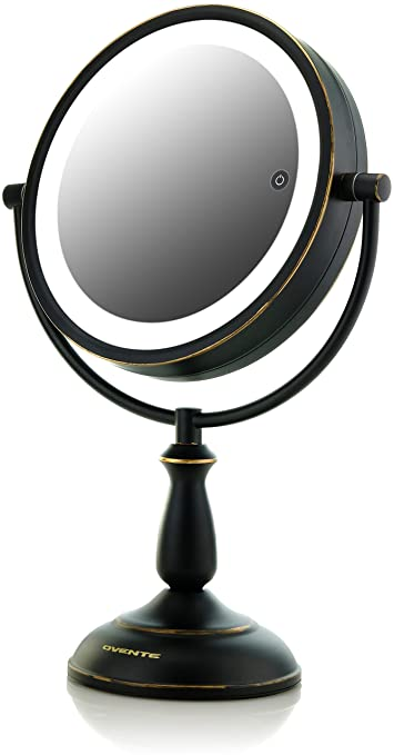 Ovente 7.5u201d Lighted Tabletop Vanity Mirror, Battery Or Cord Operated,  SmartTouch Cool,