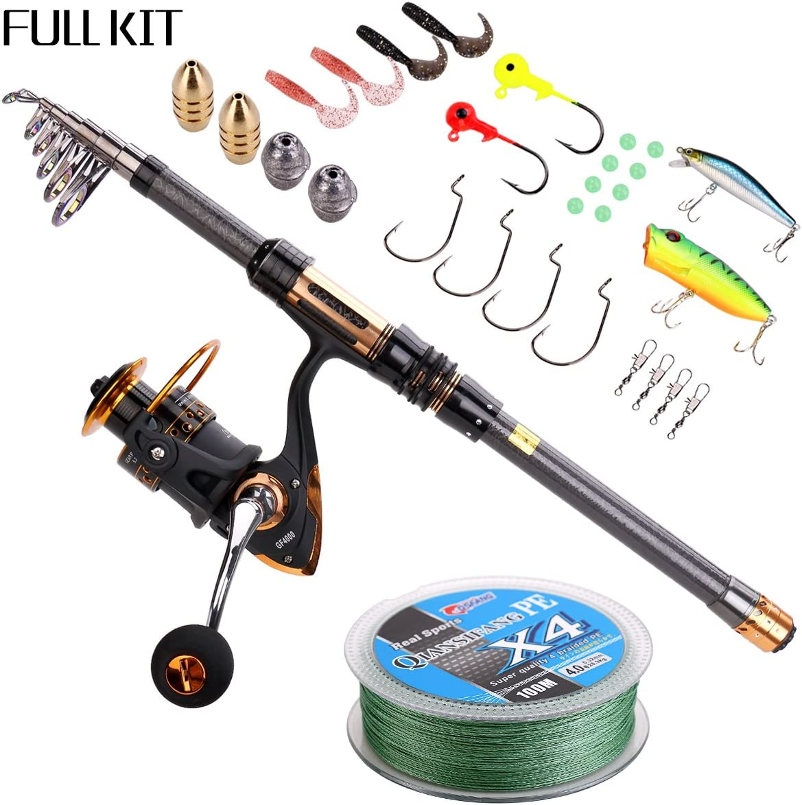 Supertrip TM Spin Spinning Fishing Rod and Reel Combos Full Kit Carbon Telescopic Fishing Rod with Reel Line Lures Hooks and Accessories Fishing Gear
