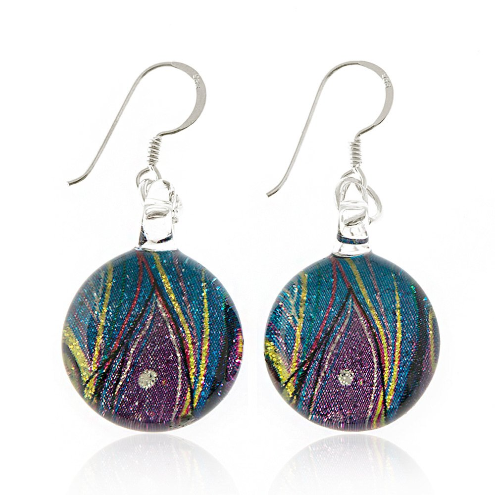 925 Sterling Silver Hand Painted Murano Glass Multi-colored Peacock Feather Round Dangle Earrings