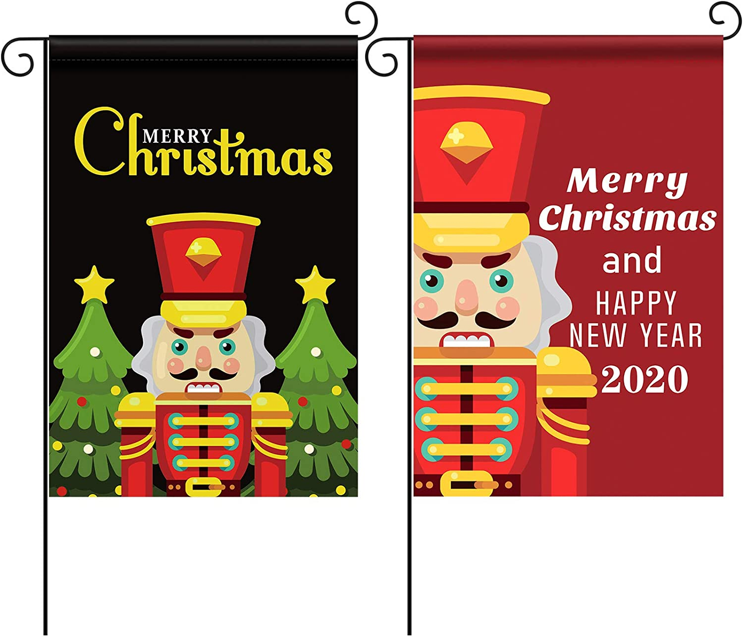 Tatuo 2 Pieces Nutcracker Garden Flags Nutcracker Welcome House Flag Christmas Lawn Flags Double Sided Christmas Garden Flags Happy New Year Yard Flags for Home Decor Holiday Decoration, 12 x 18 Inch