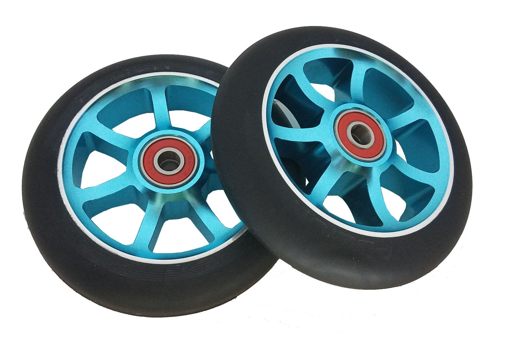 Revolution (Blue) 7 Spoke 110mm Aluminum Pro Scooter Replacement Wheels   SOLD BY PAIR   URBAN RIDERS USA