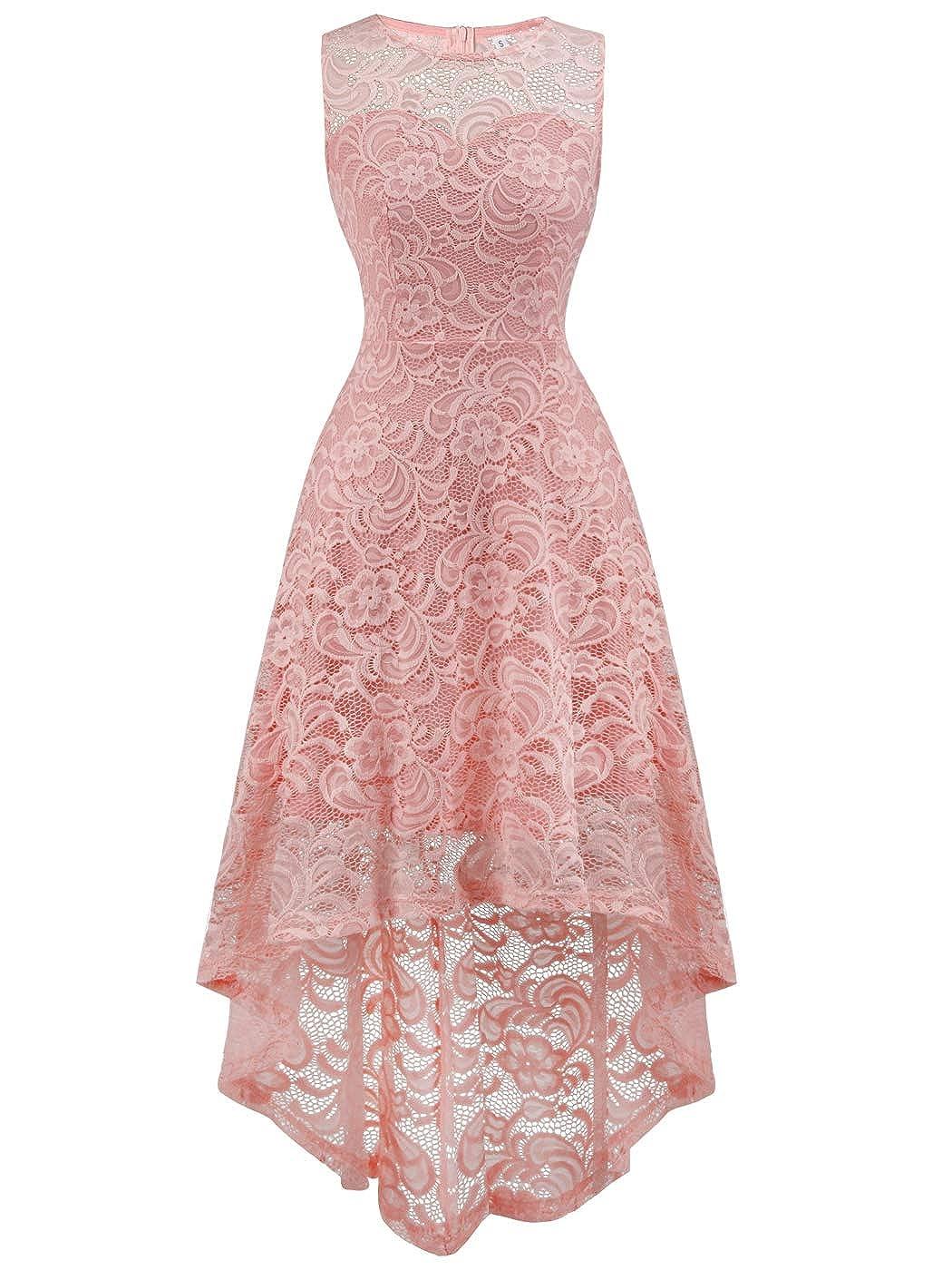 FAIRY COUPLE Womens Halter Hi-Lo Floral Lace Cocktail Party Bridesmaid Dress