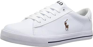 POLO RALPH LAUREN Kids Girls' Easton II Sneaker, White Tumbled Light Pink pop, 4.5 Medium US Big Kid