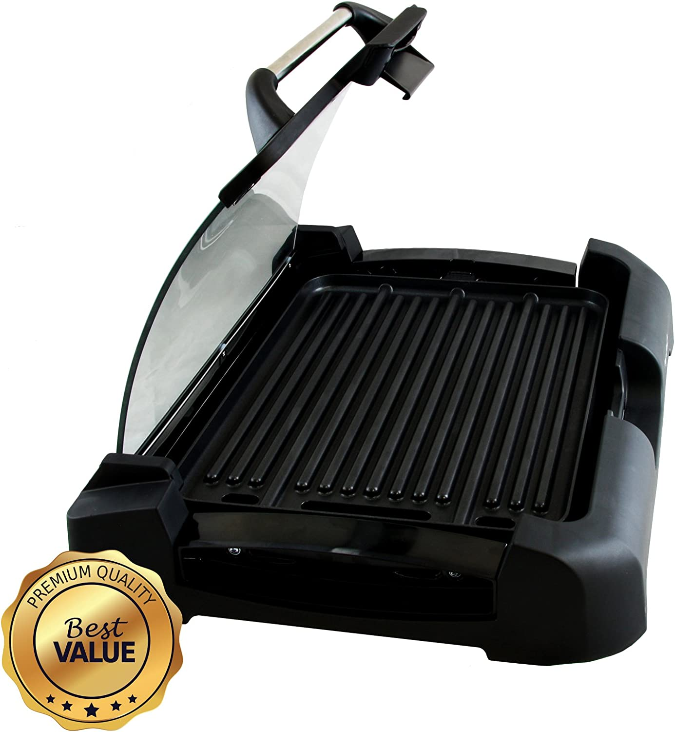 MegaChef Dual Surface Reversible Indoor Grill and Griddle with Removable Glass Lid