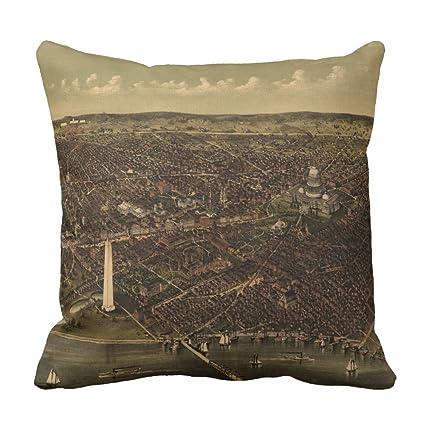 Zazzle Vintage Pictorial Map Of Washington D.c. (1892) Throw Pillow  16u0026quot; ...