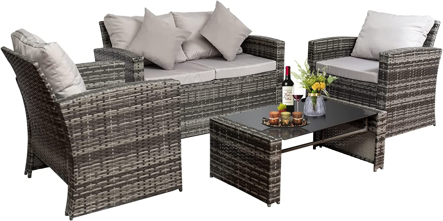 4 Pieces Outdoor Patio Furniture Sofa Cushioned Set All-Weather Wicker Rattan Loveseat and Chairs Table Conversation Sets, for Outdoor Indoor Backyard Porch Garden Poolside Balcony (Gray)