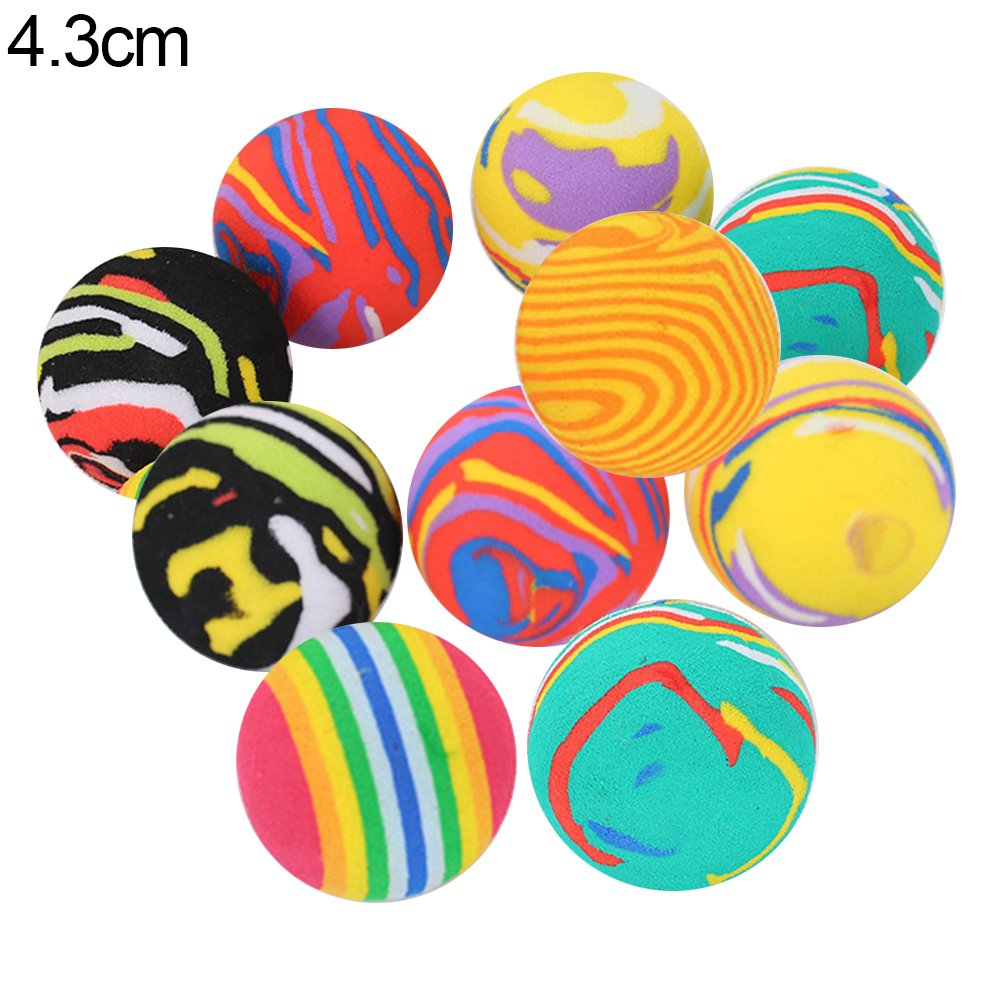 yanbirdfx 10Pcs Pet Cats Kitten Colorful Ball Bite Chew Scratch Funny Playing Toys Teaser - Random Color 4.3cm