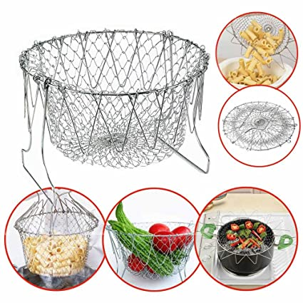 KDT Chef Basket Foldable Strainer Kitchen Tool, Silver