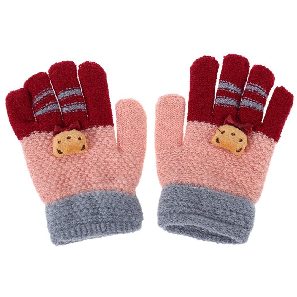 everpert Winter elastische Mädchen Fingerhandschuhe Kinder gestrickte Stretch Fäustlinge (Pink)