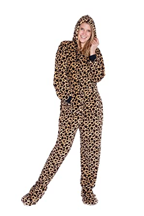 6d9f127e2f8c Leopard Print Hoodie Plush Footed Pajamas Onesie for Men or Women by Big  Feet Pajamas