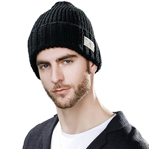 SIGGI Black Winter Beanies for Guys Knit Skull Beanie Hat Men Women Watch  Cap Warm Acrylic 07f3667620