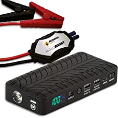 Rugged Geek RG1000 INTELLIBOOST 1000A Portable Auto Jump Starter and Power Supply with LCD Display. USB Laptop Charging. Emergency Auto Jump Box for 12V vehicles such as Cars Trucks SUVs and more
