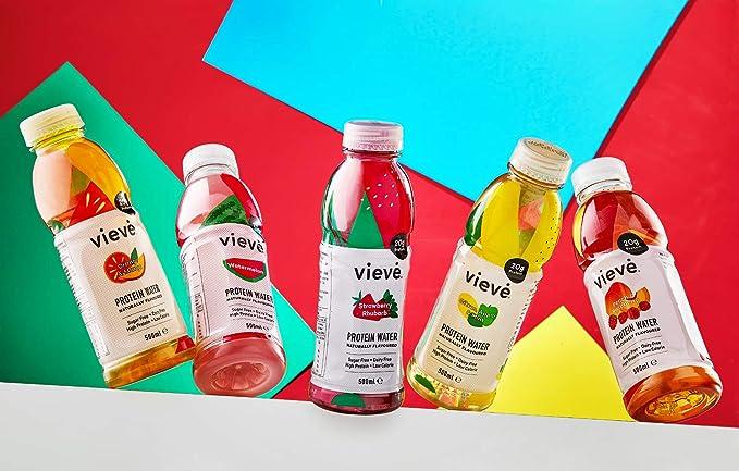 Vieve Agua con Proteína 6x500ml - Fresa y Ruibarbo | 20g de Proteína, Sin Azúcar, Sin Grasa y Sin Leche | Alternativa Lista para Beber a los Polvos y ...