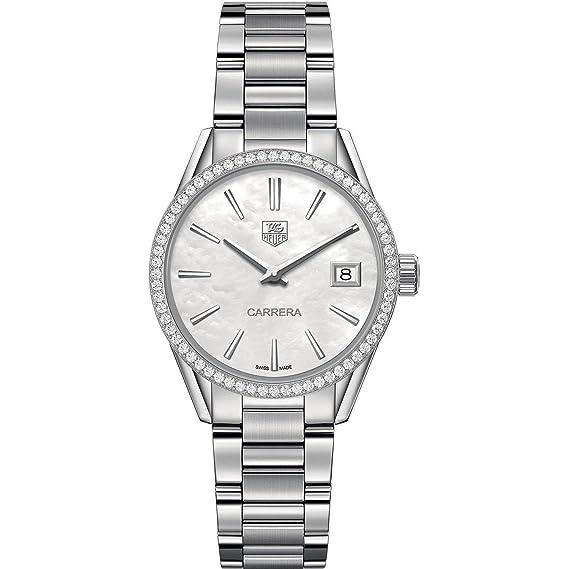 TAG Heuer Carrera de la mujer diamante 32 mm acero pulsera y caso Mop Dial reloj de cuarzo swiss war1315. ba0778: TAG Heuer: Amazon.es: Relojes