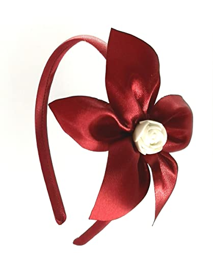 bello e affascinante colore attraente estremamente unico Cerchietto per capelli bambina con fiore Rosso Bordeaux fatto a mano