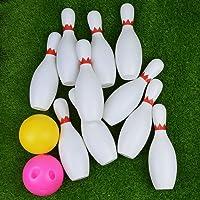 Juego de bolos de juego de 10 pines, 2 bolas de juguete deportivo clásico, bolsa de interior portátil grande para niños, bebés, niños pequeños, tienda de EE. UU.