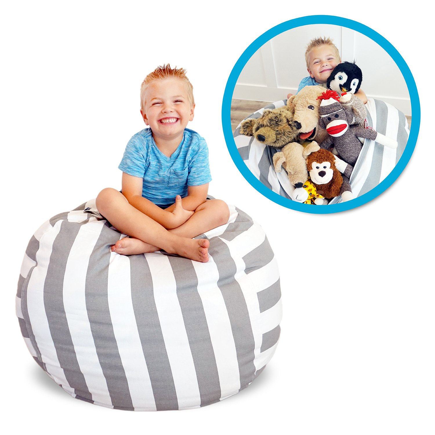 Soothing Company Stuffed Animal Bean Bag Chair for Kids - Extra Large Empty Beanbag - Kid Toy Storage Covers for Your Child's Stuffed Animals and Blankets | Premium Cotton Canvas (38'', Grey Stripe) by Soothing Company