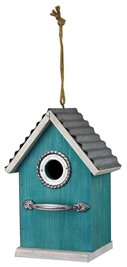 Red Carpet Studios 40858 Rustic Handle Bird House, Teal