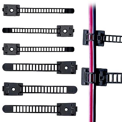 Paquete de 100 clips de corbata ajustables 3M de alambre adhesivo pinzas de nailon para coche