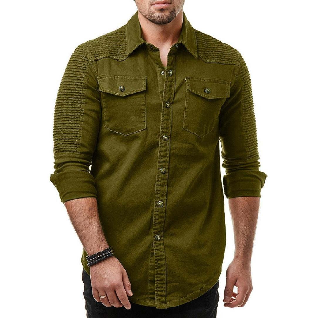 Yuxikong Mens' Coat,Casual Slim Fit Button Shirt with Pocket Long Sleeve Tops Blouse (Green, XL)