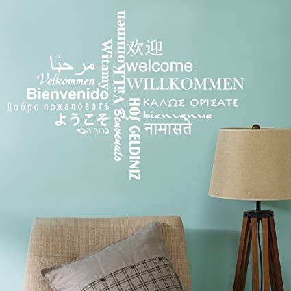 Amazon.com: DecalMile Wall Decals Quotes Multilingual Welcome Vinyl ...