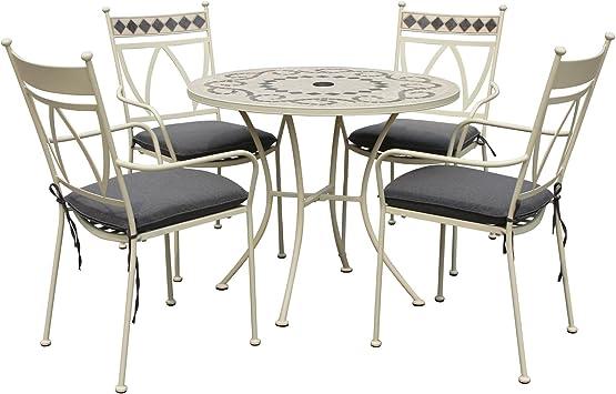 LeisureGrow Marrakech 90 cm-Table ronde en métal blanc avec ...