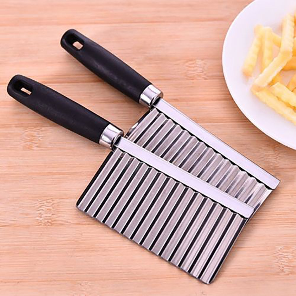 Transer Stainless Steel Crinkle Cut Potato Chip Cutter With Wavy Blade French Fry Cutter (Black) by Transer (Image #6)