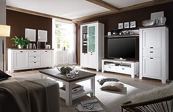 Wohnzimmer Barnelund Akazie Weiß 6 Teilig Wohnwand Couchtisch Sideboard  Anrichte Landhausmöbel