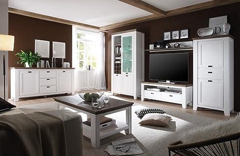 Wohnzimmer Barnelund Akazie Weiß 6-Teilig Wohnwand Couchtisch
