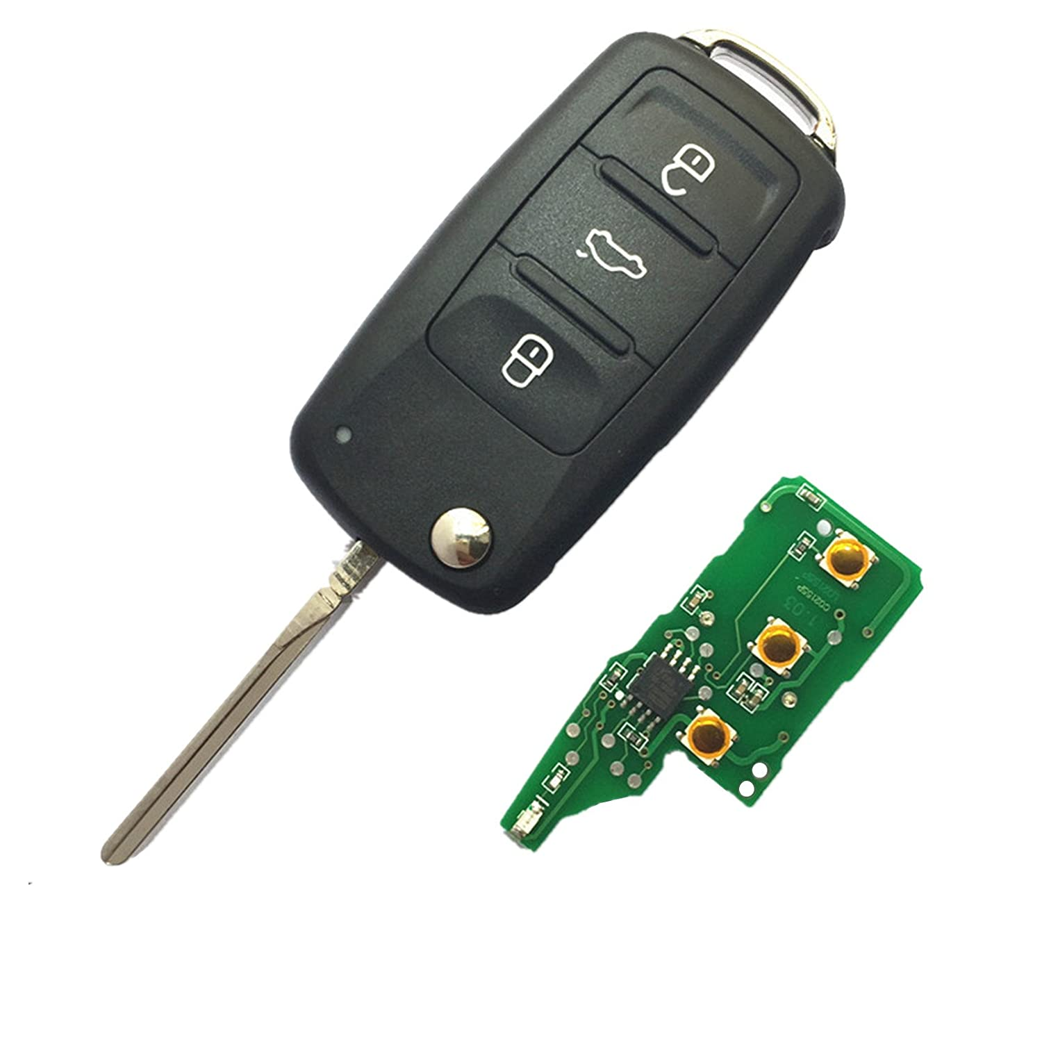 Dudely 3 Buttons Flip Folding Remote Key Fob 433mhz Id48 Electronic Circuit Chip Vw 5k0837202ad Include Electronicchip 2 Pack Automotive