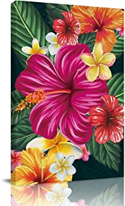 Aomike Canvas Wall Art Decor Flower, Hibiscus Plumeria Rubra Artwork Canvas Prints for Living Room, Bedroom, Kitchen, Office Stretched and Framed Ready to Hang (12