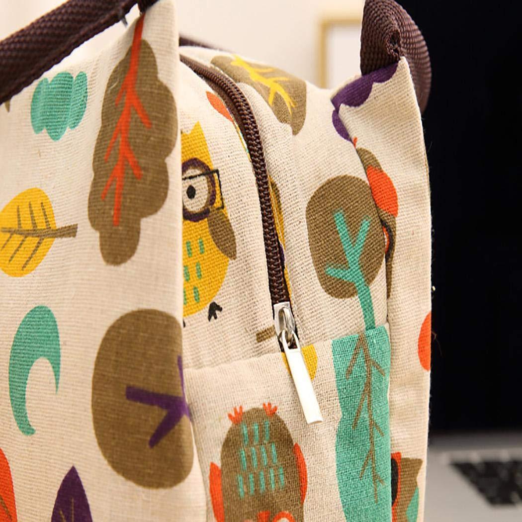 wei/ß Mekolen Isolierte Thermal Cooler Lunch Bag Pouch Picknick Aufbewahrungsbox im Freien Brotdosen Baumwolle und Leinen Multicolor
