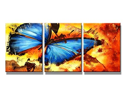 amazon com canvas wall art abstract butterfly oil paintings