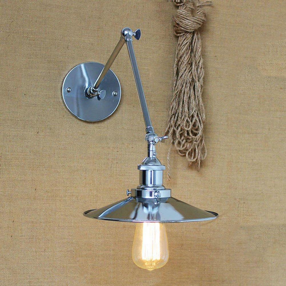 Industrial Adjustable Chrome Wall Sconce - LITFAD 8'' Wide Edison Vintage Metal Wall Light Wall Lamp Mounted Lighting Fixture