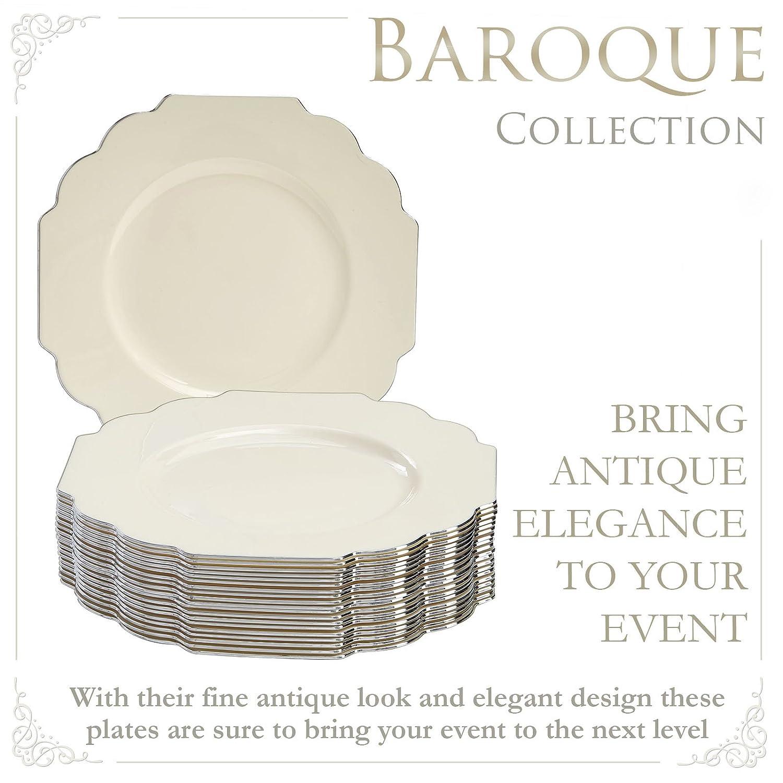 VAJILLA PARA FIESTAS DESECHABLE DE 20 PIEZAS | 20 platos para ensalada/postre| Platos de plástico resistente | Elegante aspecto de porcelana fina (Baroque ...