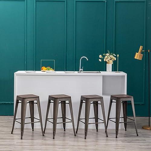 YongQiang Metal Bar stools Set of 4 Backless Counter Height Stool