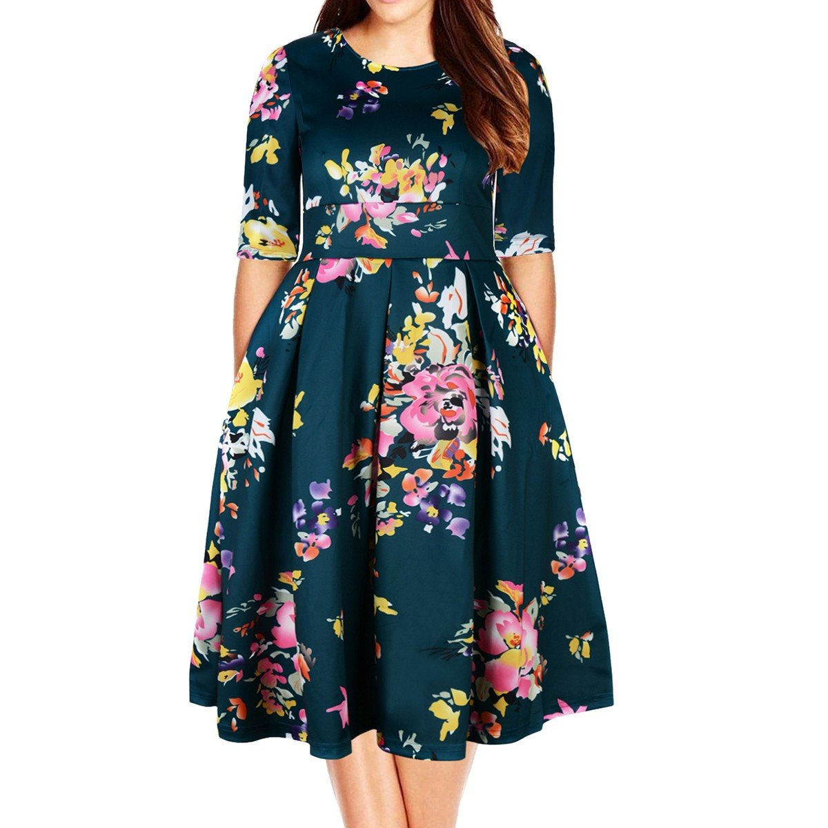 Samtree Women's Plus Size Floral 3/4 Sleeve Backless Cocktail Party Swing Dress(UK 22(US 18 Plus),Green)