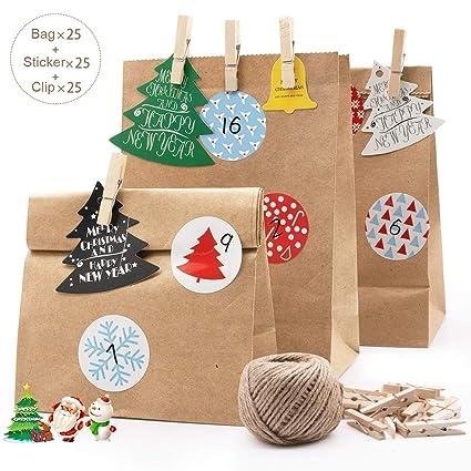 MMTX 24 Bolsas de Papel Kraft Marrón Bolsa para Regalos con Tarjetas y Pegatinas Pinzas de Madera Ideal para Bodas, Cumpleaños o Fiestas de Navidad | ...