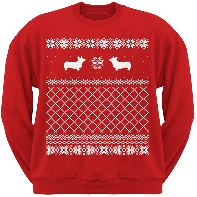 Amazon.com: Corgi Red Adult Ugly Christmas Sweater Crew Neck ...