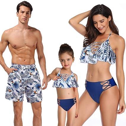 comprar online 8a3d4 9f723 WANZIJING Traje de baño para la Familia Impreso Bikini de Cintura Alta con  Volantes Traje de baño de Padres e Hijos Traje de baño a Juego Familiar ...