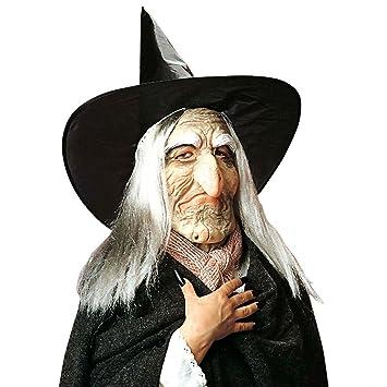 Máscara de bruja con sombrero y cabello antifaz peluca sombrero puntiagudo halloween