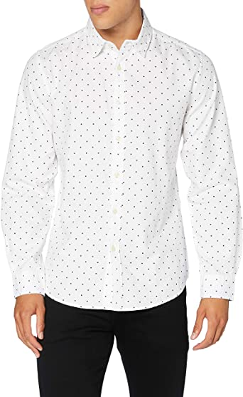 Springfield Pinpoint Print Heroes-C/99 Camisa Casual, Blanco ...