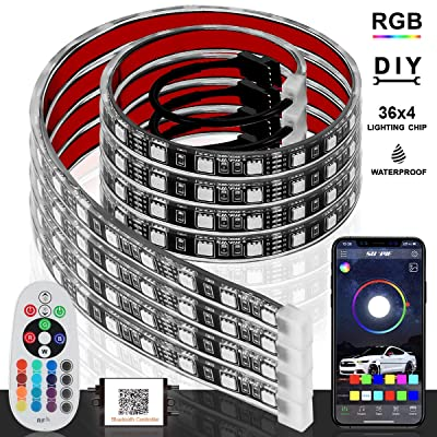 PROAUTO Flexible LED Strip Interior Lighting Glow Lighting Kit Wheel Well LED Light Kit Inside LED Glow Grill Lighting Kit with RGB Color Change, 4 Pieces 24'' Multi-Color LED Strips for Vehicle: Automotive